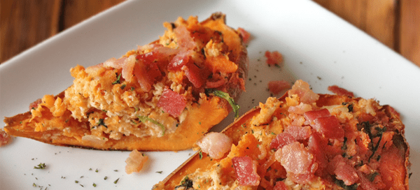 BBQ Chicken Sweet Potato Skins | Our Paleo Life
