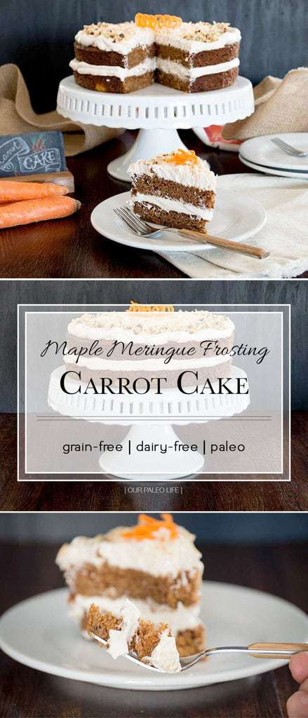 Carrot Cake w/ Maple Meringue Frosting {grain-free; dairy-free}