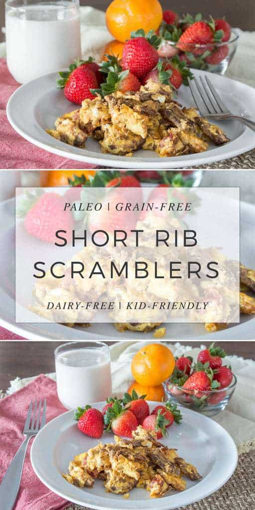These Short Rib Scrambles are a delicious way to use up your leftover braised short ribs and reducing your egg consumption at the same time. Kid-friendly, paleo, and dairy-free.