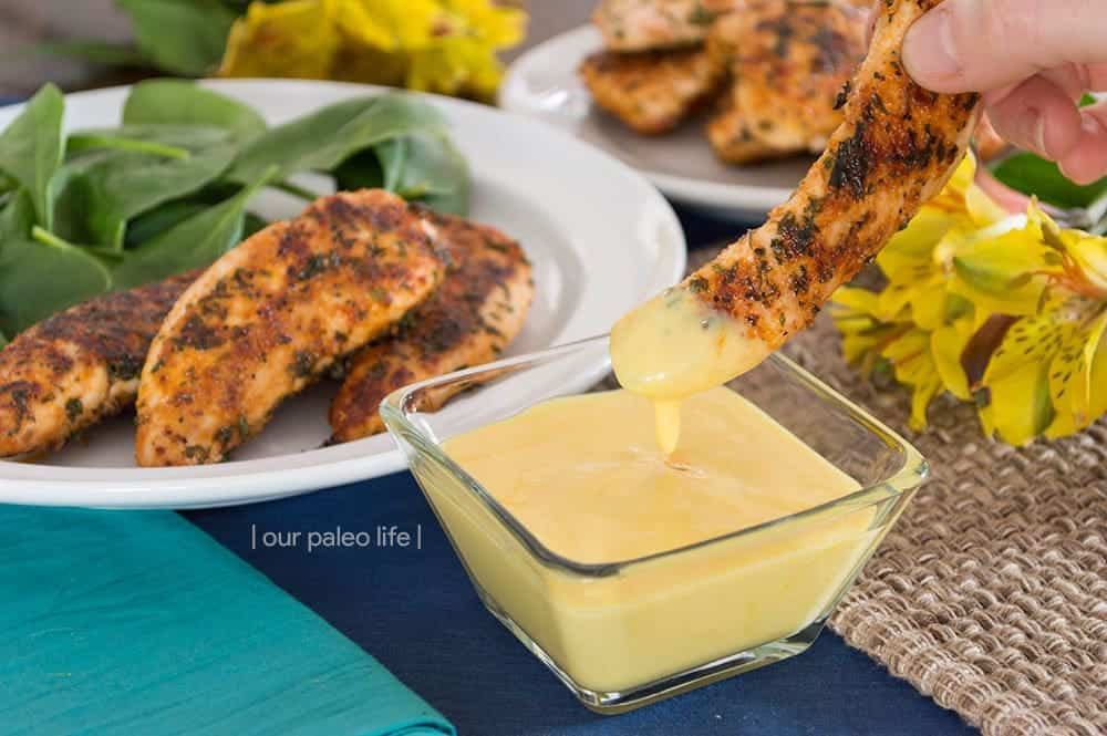 4-Ingredient Honey Mustard Sauce {dairy-free} by OurPaleoLife.com #paleo