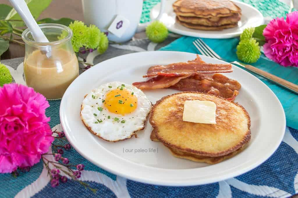 Keto Coconut Pancakes with Caramel Sauce {paleo | primal | dairy-free option} by Our Paleo Life