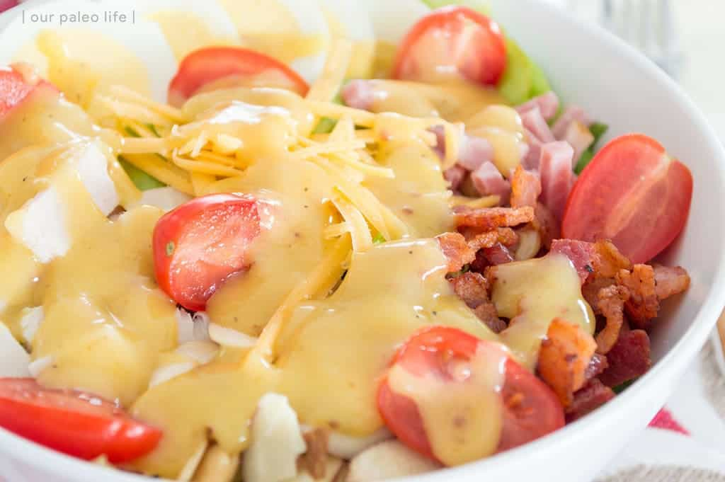 House Salad w/ Hot Bacon Honey Mustard Dressing {primal; grain-free; dairy-free option}