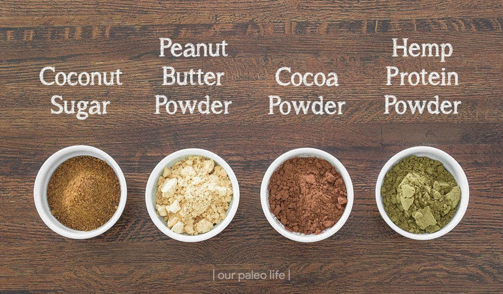 4-Ingredient Vegan Chocolate Protein Powder {dairy-free} by OurPaleoLife.com