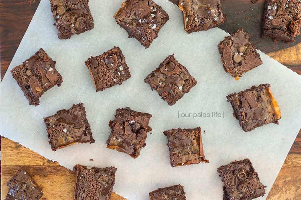 Sea Salt Caramel Brownies {grain-free; dairy-free} by Our Paleo Life
