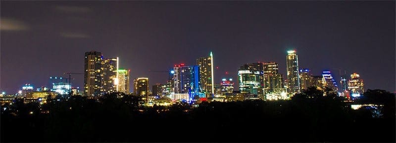 Austin City Skyline at Night during Paleo f(x) 2017