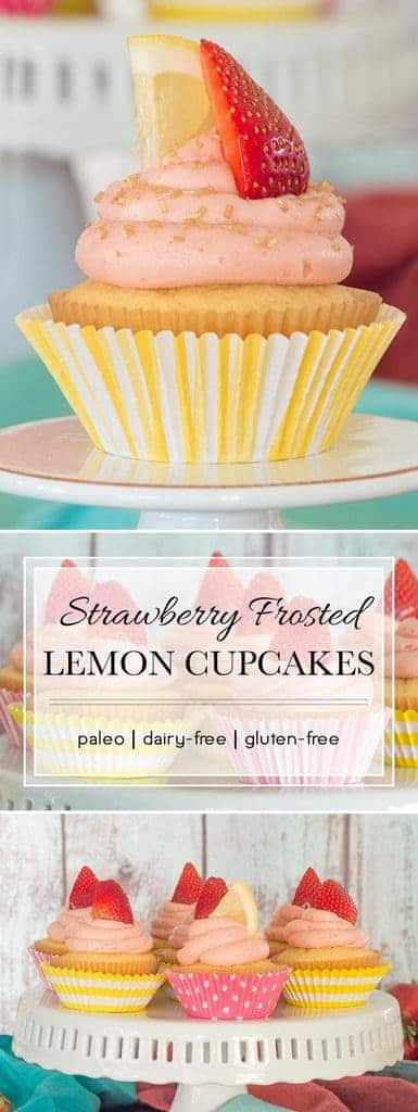 These light, fluffy lemon cupcakes are topped with a subtly sweet strawberry lemonade frosting. They are also grain- and dairy-free, making them a perfect summer dessert for everyone.