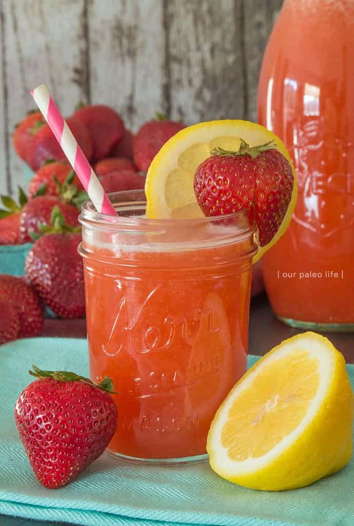 Honey-Sweetened Strawberry Lemonade {by Our Paleo Life}