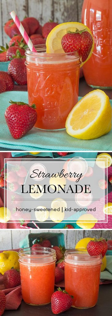 This strawberry lemonade is sweetened with natural honey (no refined sugars here) and flavored with fresh, ripe strawberries. Adjust the sweetness to your liking or leave it a little extra sour. This kid-approved summer drink also makes excellent popsicles for those extra hot days.