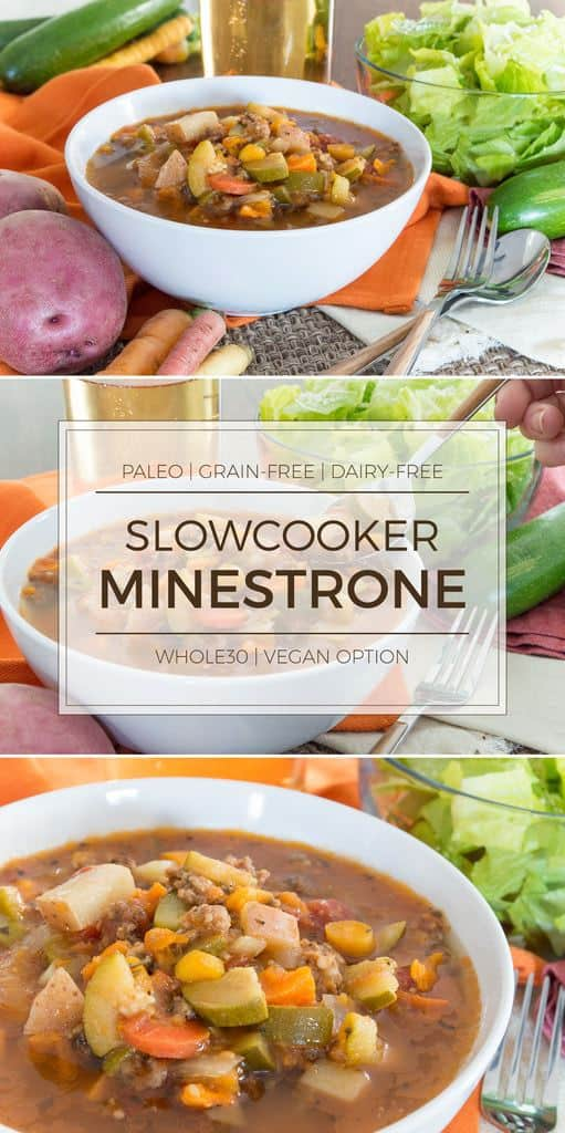 This paleo minestrone soup has all the flavor of your favorite Italian restaurant version but without all the added sugars and grains. It's Whole30-friendly, dairy-free, and even has a vegan option. #paleo #whole30