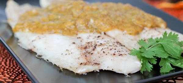 White Fish with Peach Salsa Sauce