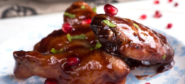 Pomegranate-Ginger Sticky Wings {by Merit + Fork}