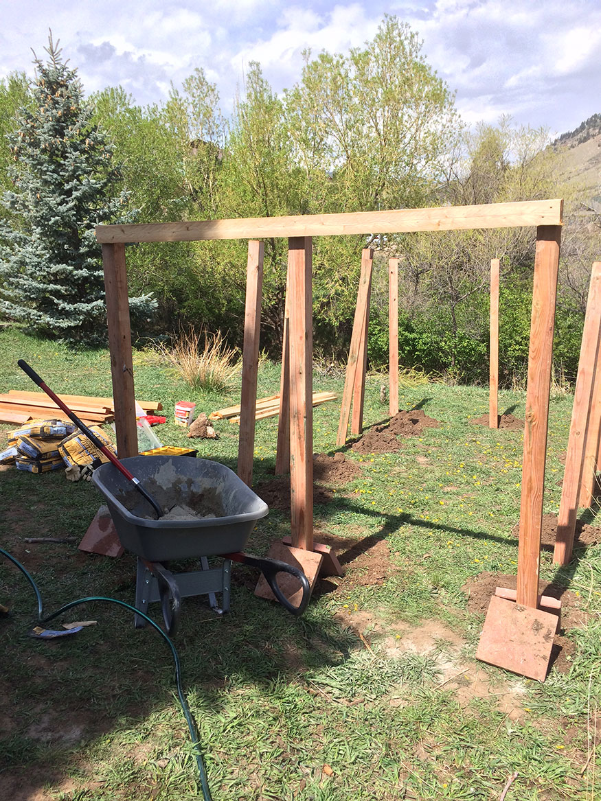 Preparing Garden Fence Timbers for Placement