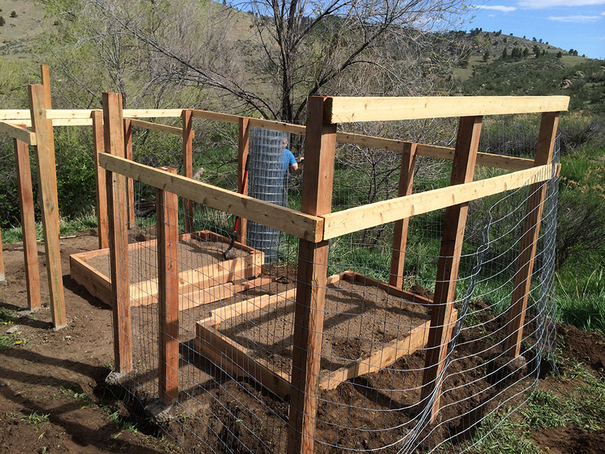 Adding Welded Wire to Garden Fence Area