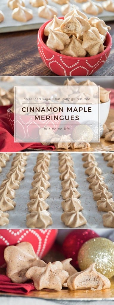 These Cinnamon Maple Meringue Cookies are refined-sugar-free and naturally gluten-free. Sweetened with pure maple syrup and seasoned with Ceylon cinnamon, these meringues are the perfect addition to your holiday cookie swap. #paleo