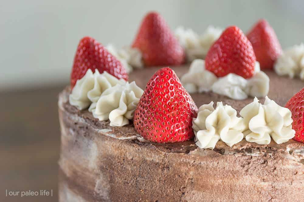 14-Layer Chocolate-Strawberry Cake {grain-free} by OurPaleoLife.com