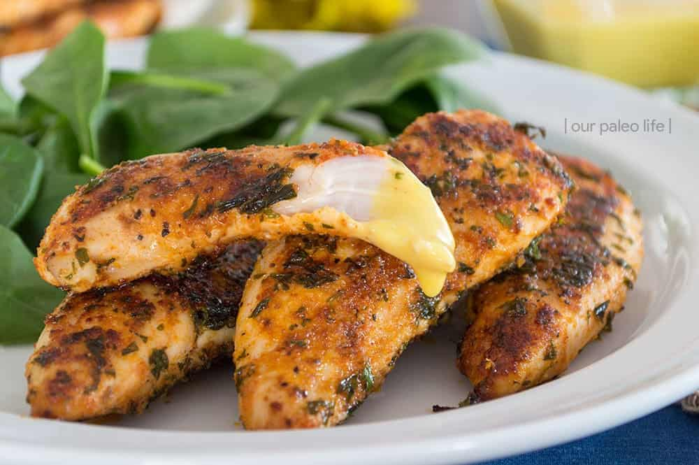 Easy Pan Fried Chicken Tenders {grain-free; dairy-free} by OurPaleoLife.com #paleo