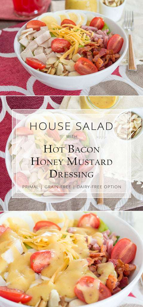 This House Salad w/ Hot Bacon Honey Mustard Dressing is restaurant quality right in your own home. Naturally gluten-free with a dairy-free option. #primal