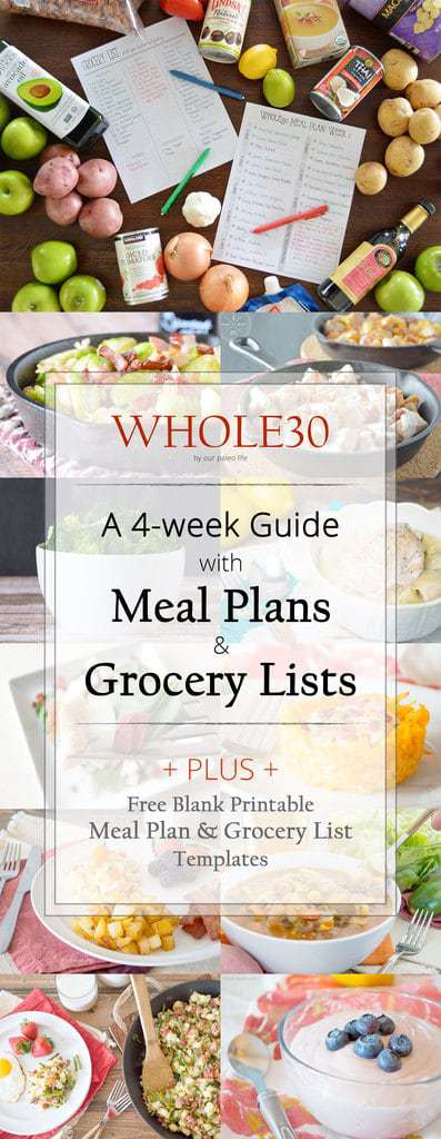whole30 meal plan grocery list 4 individual weeks of meal plans and grocery lists