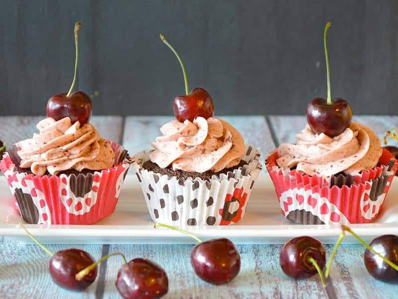 Chocolate Cupcakes with Cherry Buttercream Frosting | Our Paleo Life