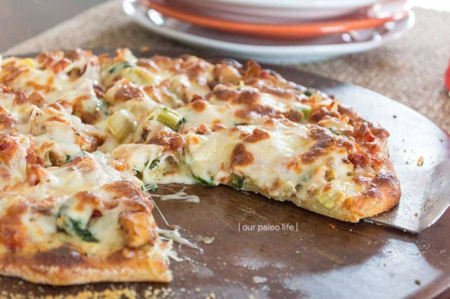 Keto Chicken Bacon Artichoke Pizza | low-carb, high-fat, primal {by Our Paleo Life}