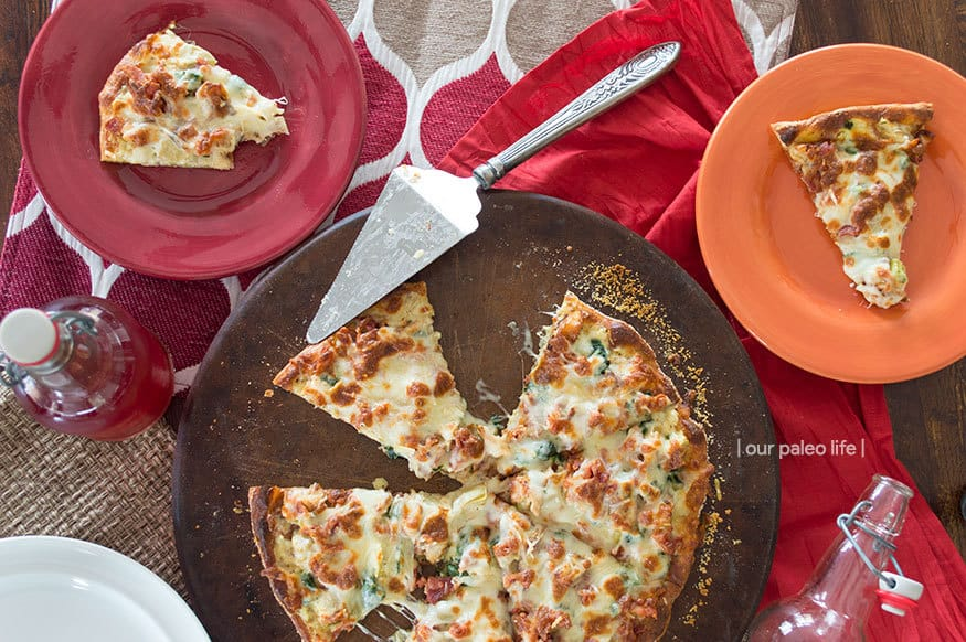 Keto Chicken Bacon Artichoke Pizza   low-carb, high-fat, primal {by Our Paleo Life}