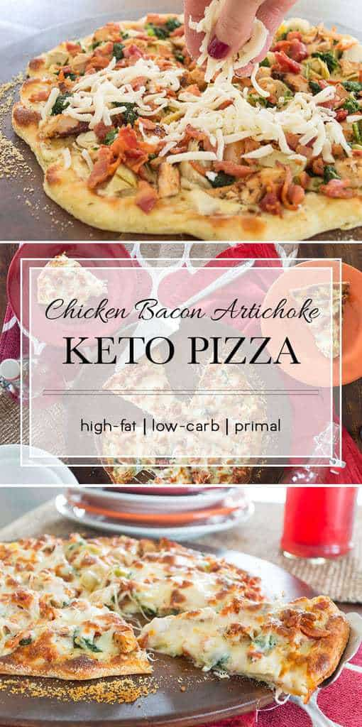 This pizza uses the fathead pizza crust and a white sauce to keep it low-carb. It's so flavorful you won't miss the old tomato sauce/pepperoni version at all. #keto