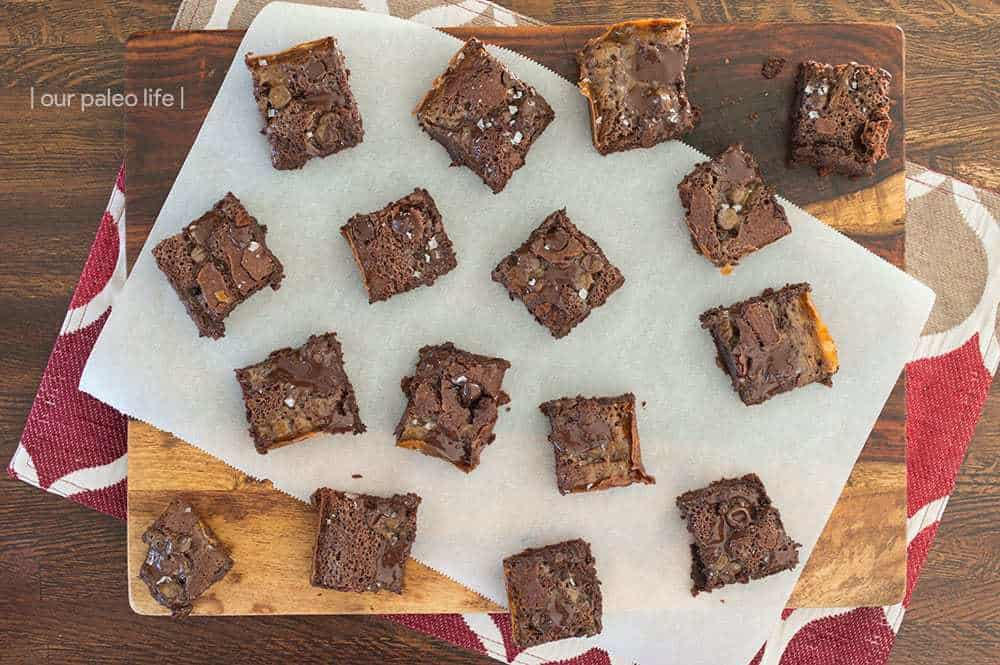 Sea Salt Caramel Paleo Brownies {grain-free; dairy-free}