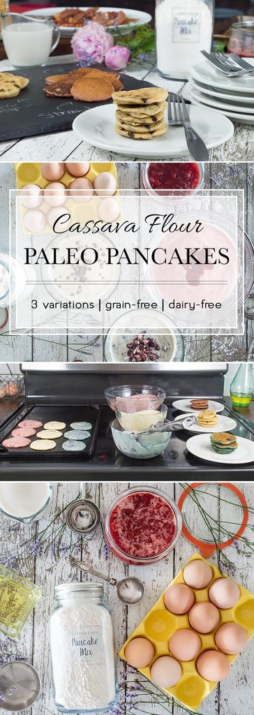 These Paleo Pancakes are made with cassava flour and have 3 flavor variations. They're the perfect breakfast any day of the week.