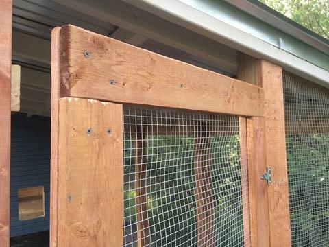 Close up of the chicken run door