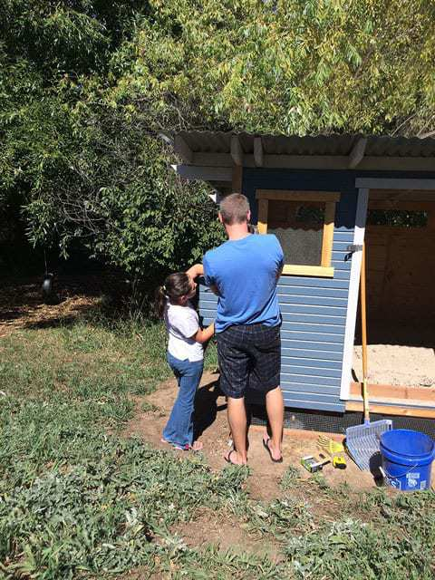 Getting help on the chicken coop finish work