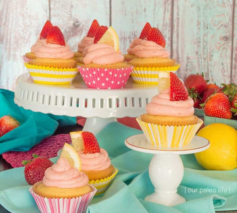 Grain-Free Lemon Cupcakes w/ Strawberry Lemonade Frosting