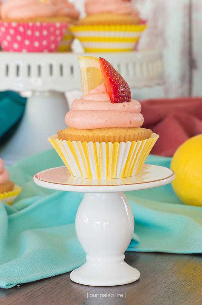 Grain-Free Lemon Cupcakes w/ Strawberry Lemonade Frosting