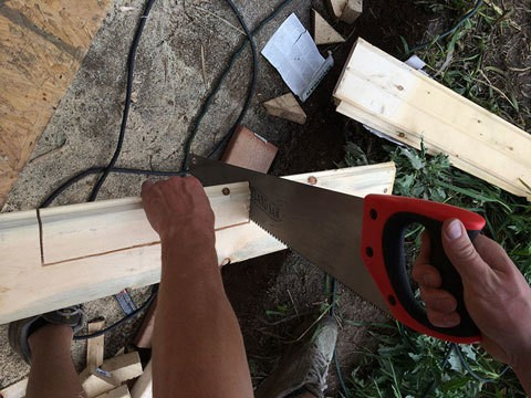 Tongue and groove siding cut outs with a handsaw