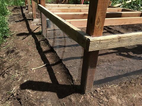 Under Coop Floor Area with Mesh Wire