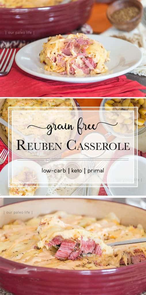 This reuben casserole has all the flavor of your favorite sandwich but none of the gut-bloating carbs and grains. Make a corned beef brisket just for this casserole or make this as an excellent way to use up leftovers.