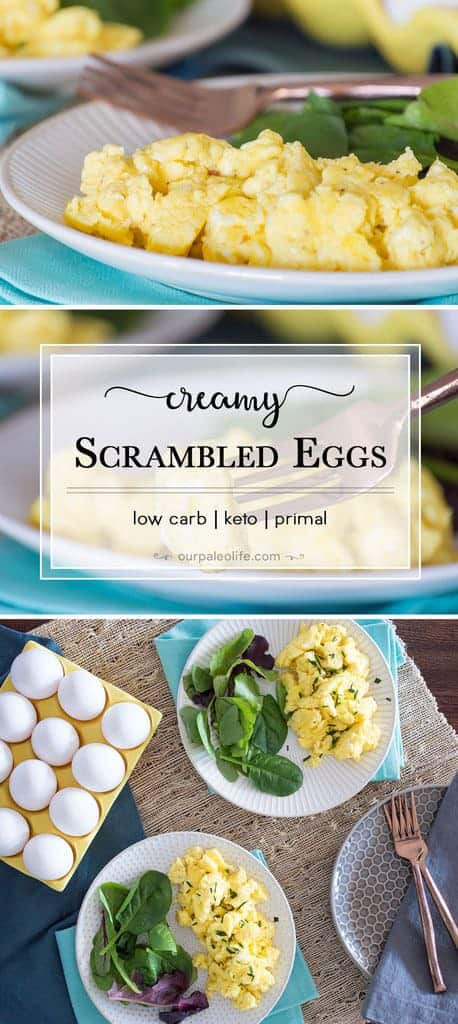 Slow-scrambled at a lower temperature with added cream and cheese, these will quickly become your favorite eggs. Only 1g carbs per serving.