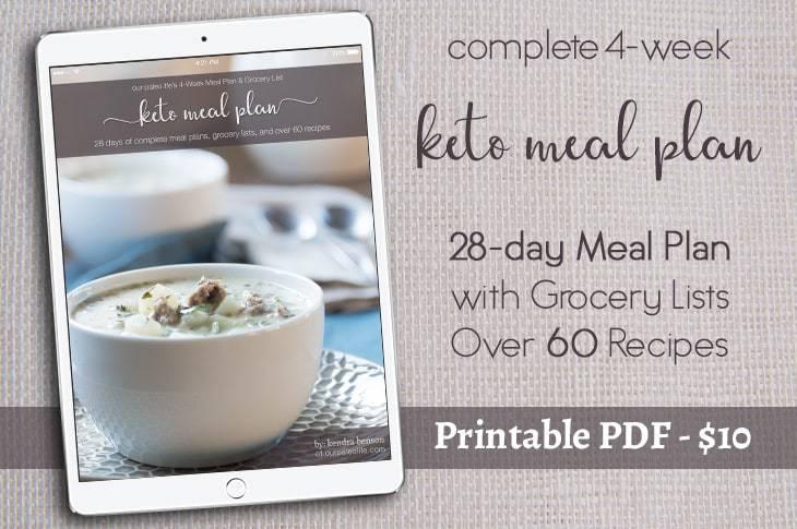 4-Week Keto Meal Plan & Grocery List eBook