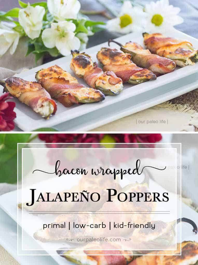 These poppers are a delicious side or party food, always a hit. Easy to make and easy to love. Try cooking up these primal, bacon-wrapped Jalapeños Poppers now!