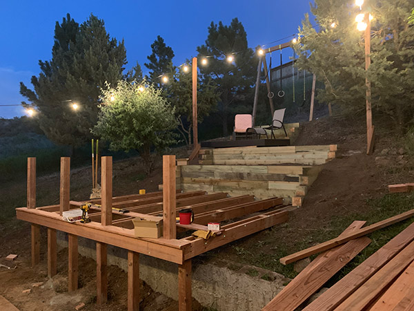 Deck posts and Beams in place