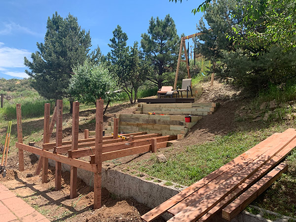 Support posts and beams for backyard deck