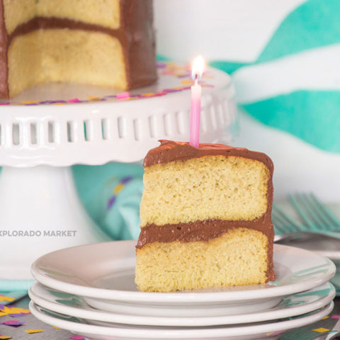 Keto Birthday Cake with Chocolate Frosting